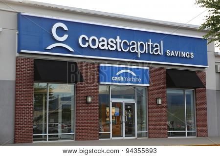 Pitt Meadows, BC, Canada - June 16, 2015 : Coast capital savings bank in Pitt Meadows Canada. It is Canada's largest credit union by membership