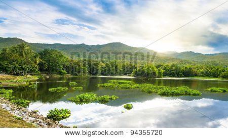 Sunset Scenery At Chiangmai Reservoir
