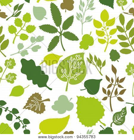 Green leaves,branches Silhouette seamless pattern