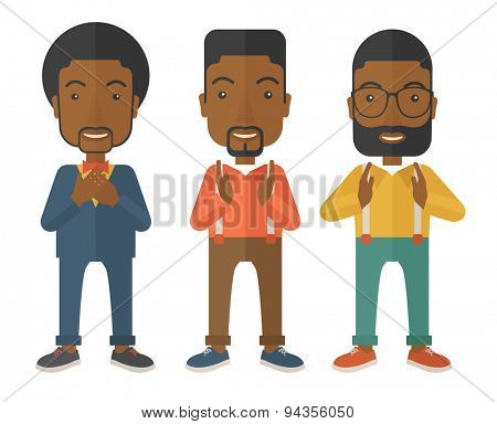 Three young black handsome businessmen with different color of hair. Successfully reach their target in marketing. A contemporary style. Vector flat design illustration with isolated white