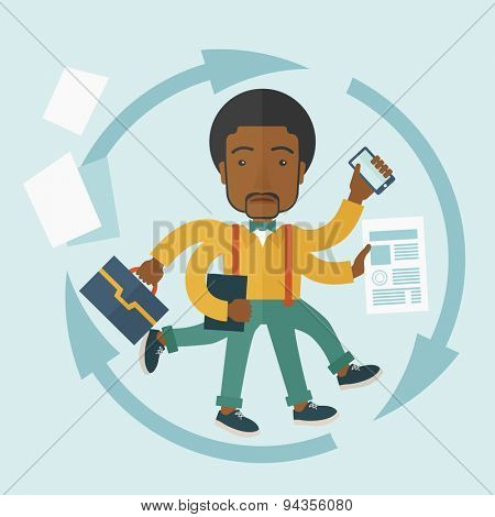 A multitasking job is a man with many hands with successful planning elements, can handle many paper works. Time management concept. A Contemporary style with pastel palette, soft blue tinted
