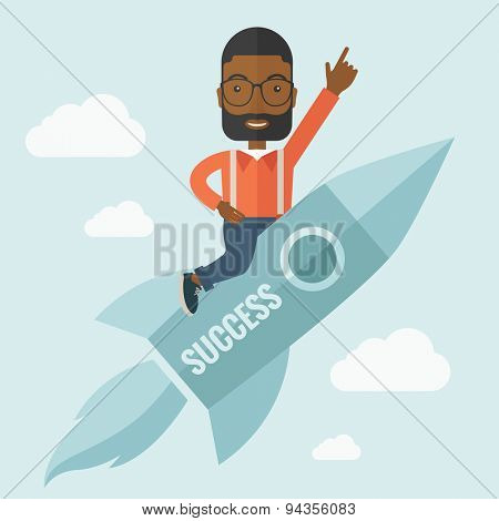 A black man flying on the rocket raising his hand in the air as his start up. Success concept. A Contemporary style with pastel palette, soft blue tinted background with desaturated clouds. Vector