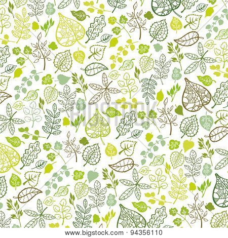 Green leaves,branches outline pattern background