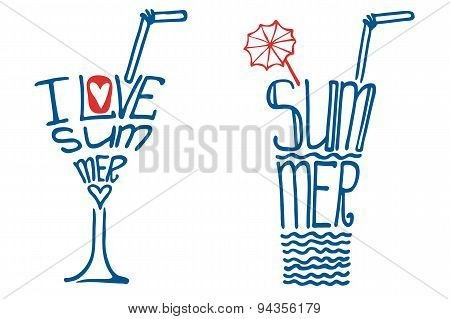 Glass in words I love summer.Typography Design