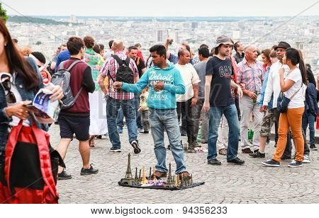 Crowd Of Tourists Walking Near Sacre Coeur