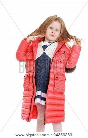 Child autumn coat, close-up