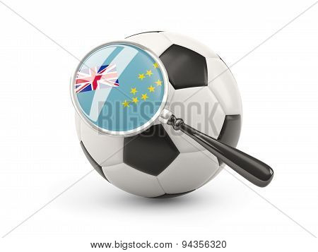Football With Magnified Flag Of Tuvalu