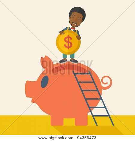 A young black guy saving his money by putting a coin in big piggy bank using a ladder. Saving concept. A Contemporary style with pastel palette, soft beige tinted background. Vector flat design
