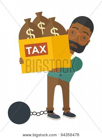 An african-american businessman locked in a debt ball in chain for committing crime in tax evasion. Debt concept. A Contemporary style. Vector flat design illustration isolated on white background