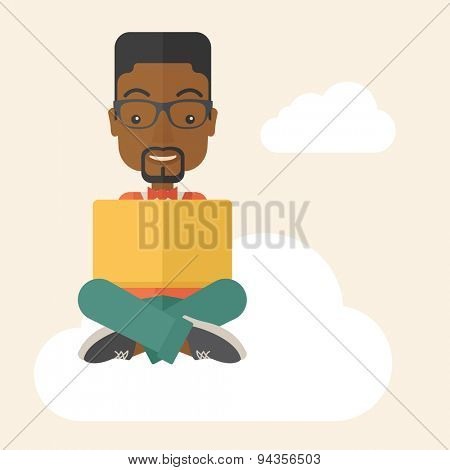 A black guy having a great idea while reading a book. Business concept. A Contemporary style with pastel palette, soft beige tinted background. Vector flat design illustration. Square layout