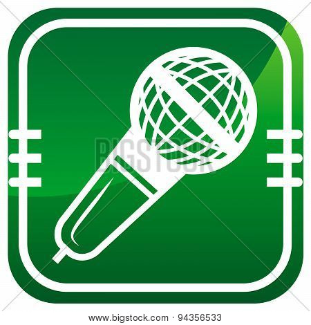 Microphone Vector Green Icon Isolated