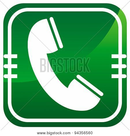 Telephone Receiver Vector Green Icon
