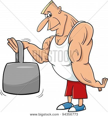 Strong Man Athlete Cartoon Illustration