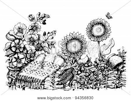 Traditional Ukrainian fence with sunflowers, hollyhock