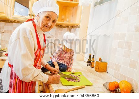 Preparing Food With Grand-child