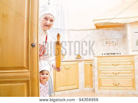 Playful Granny And Girl