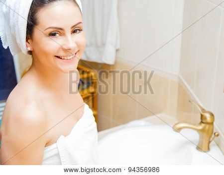 Smiling Lady In Bathrobe