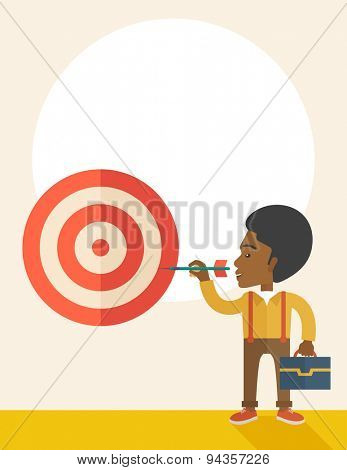 A working black man with strategy on how to get his target market sales higher. Market strategy concept. A Contemporary style with pastel palette, soft beige tinted background. Vector flat design