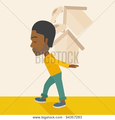 A sad black man carrying house and car as his loan or debt from the bank. A Contemporary style with pastel palette, soft beige tinted background. Vector flat design illustration. Square layout.