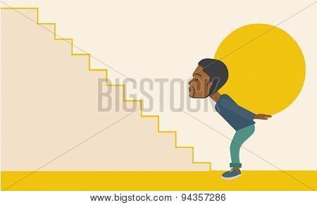 An african businessman sacrifice in carrying a big ball going up to reach the goal. A Contemporary style with pastel palette, soft beige tinted background. Vector flat design illustration. Horizontal