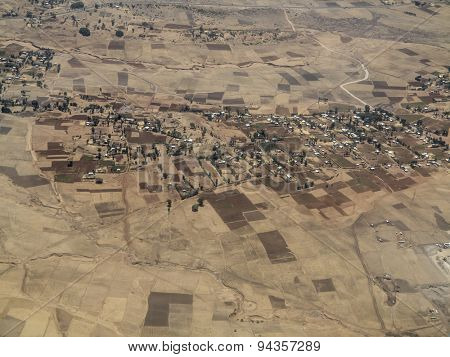 Aerial view of Ethiopian villages and patchwork of farmland