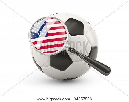 Football With Magnified Flag Of United States Of America