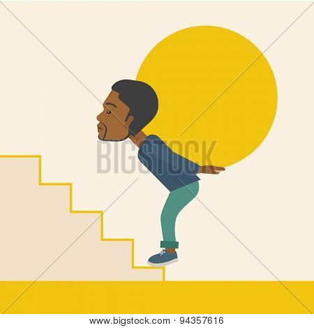 An african businessman sacrifice in carrying a big ball going up to reach the goal. A Contemporary style with pastel palette, soft beige tinted background. Vector flat design illustration. Square