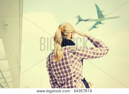 Filtered image of a girl in the airport