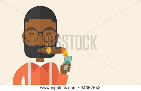 A smiling african-american businessman lighting the cigar tobacco to release pressure from work. Successful business concept.  A Contemporary style with pastel palette, soft beige tinted background