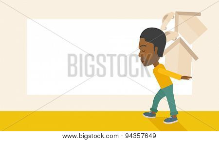 A sad black man carrying house and car as his loan or debt from the bank. A Contemporary style with pastel palette, soft beige tinted background. Vector flat design illustration. Horizontal layout