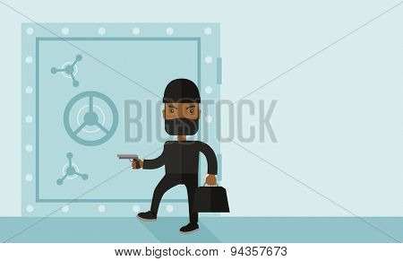 An african-american man wearing black with mask to disguise doing crime hacking bank safe. Criminal, illegal concept. A Contemporary style with pastel palette, soft blue tinted background. Vector flat