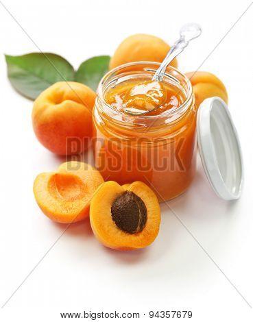 homemade apricot jam on white background
