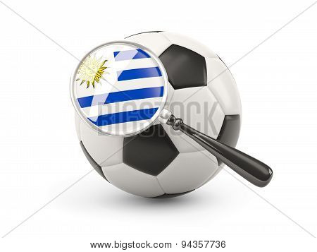 Football With Magnified Flag Of Uruguay