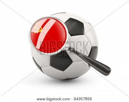 Football With Magnified Flag Of Ussr