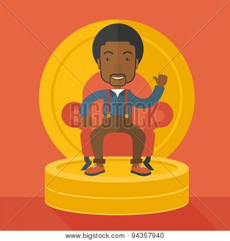 A successful african  businessman smiling while sitting like a king on a heap of money. Achievement concept. A Contemporary style with pastel palette, orange tinted background. Vector flat design