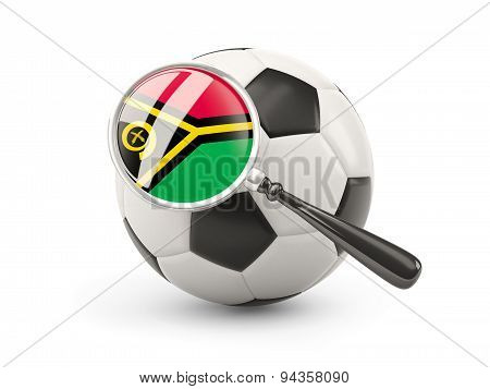 Football With Magnified Flag Of Vanuatu