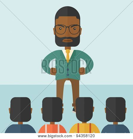A very angry black boss standing having a meeting to his employees facing him inside the office. Deadline and work Relationships business concept. A Contemporary style with pastel palette, soft blue