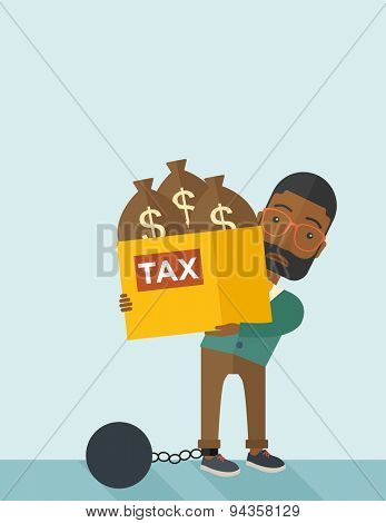 An african businessman locked in a debt ball in chain for committing crime in tax evasion. Debt concept. A Contemporary style with pastel palette, soft blue tinted background. Vector flat design