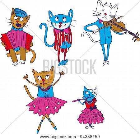 Cartoon multicolored singing cats isolate on whithe background