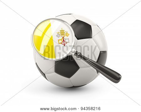 Football With Magnified Flag Of Vatican City