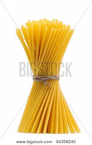 Pasta In The Form Of A Sheaf On A White Background