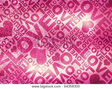 Love Glitter Valentine's Day Typographic Texture