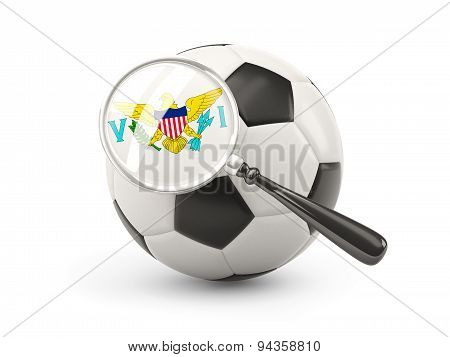 Football With Magnified Flag Of Virgin Islands Us