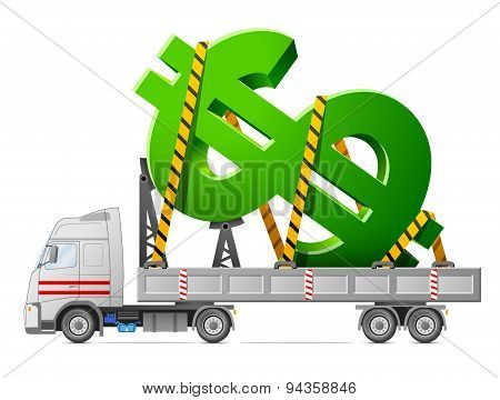 Road Transportation Of Dollar Symbol