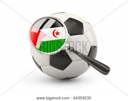 Football With Magnified Flag Of Western Sahara