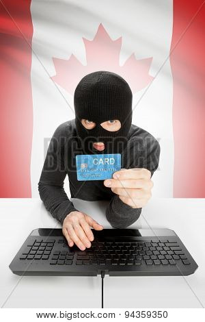 Cybercrime Concept With National Flag On Background - Canada