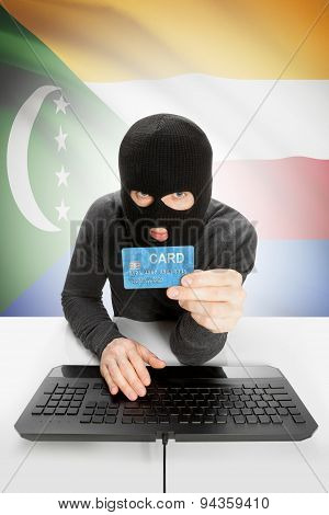 Cybercrime Concept With National Flag On Background - Comoros