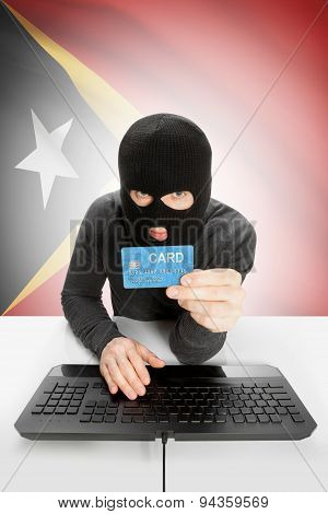 Cybercrime Concept With National Flag On Background - East Timor