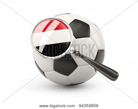 Football With Magnified Flag Of Yemen