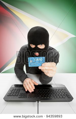 Cybercrime Concept With National Flag On Background - Guyana
